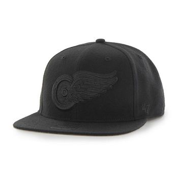 NFL Detroit Red Wings Sure Shot Black on Black Snapback Hat