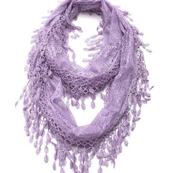 Lilac Lace Infinity Scarf with Eyelet Trim