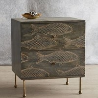 Handcarved Streamlet Nightstand by Anthropologie in Grey Size: Nightstand Furniture