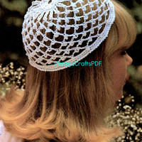 1970s Wedding Cap w Glass Beads-Beanie-Snood Cap-Juliet Beanie Cap Hat-Vintage Crochet Pattern-Boho Chic-Crown-Mesh Hat-Vintage Crafts PDF
