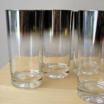 Vintage Charcoal Mirror Ombre High Ball Glasses by ionesAttic