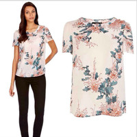 Beige Floral Print Casual T-Shirt