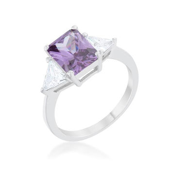 Classic Amethyst Sterling Silver Engagement Ring, size : 06