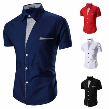 Men's Luxury Slim Fit Dress Shirt Short Sleeve Top T-Shirt Formal Casual Shirts