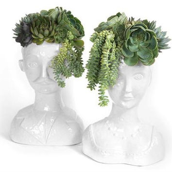 Rare Pair of Italian Horchow Bust Planters