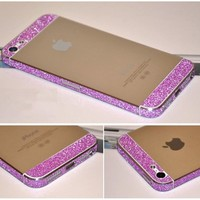 Bumper Side Luxury Glitter Bling Sticker Skin for Iphone 5 Purple Color