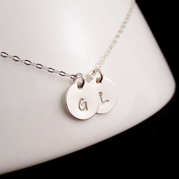 Silver Initials Necklace, Handstamped Personalized Discs, Sterling Silver Letters Necklace, Anniversary Gift, Childrens Names