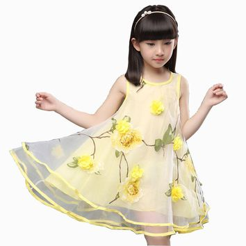 2017 Summer Clothes for Teen Girls Baby Kids 3D Flower Party Dress  Children's Gown Dress For Age 3 4 5 6 7 8 9 10 11 12 Years