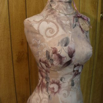 Boutique Dress form designs to the waist. Life size torso great for store front or home decor. Paris Damask Bust form.