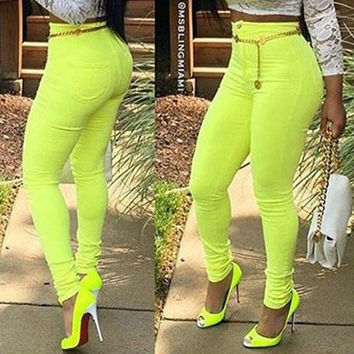 Yellow Green Button and Zipper Design Pencil Pants