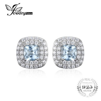 JewelryPalace Cushion Cut 0.9ct Natural Aquamarine Halo Stud Earrings 925 Sterling Silver Earrings For Women 2017 Fine Jewelry