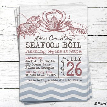 Seafood Boil Invite // Personalized Printable Rustic Seafood Boil Invitation // Seafood Invite // Summer Invite // Low Country Invite