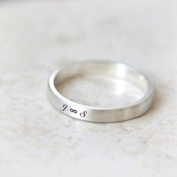 Infinity and Initials engraved ring in sterling silver--Custom Personalized Initial Ring