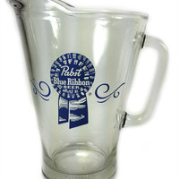 Vintage Pabst Blue Ribbon Beer Dive Bar Pitcher Heavy Glass Milwaukee Wisconsin