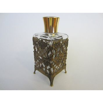Filigree Cover Brass Top Footed Mid Century Glass Perfume Bottle