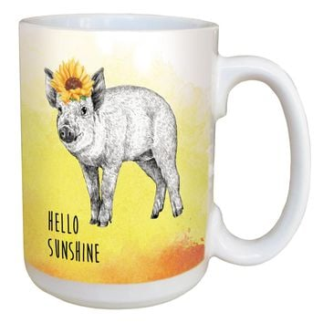Boho Pig Mug - Large 15 oz Ceramic Coffee Mug