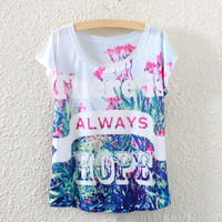 White Short Sleeve Flower&Hope Print T-Shirt