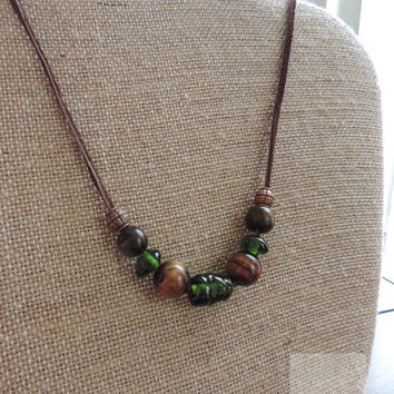 Statement jewelry Wine cork necklace Wood beaded necklace Unique jewelry (N053)