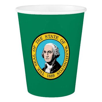 Patriotic paper cup with Washington State Flag
