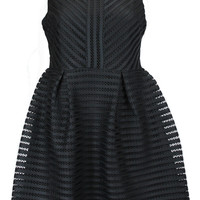 Breakfast at Tiffany's Striped Mesh Fit and Flare Dress - Black