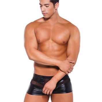 Zeus Wet Look Peek a Boo Shorts Black O/S