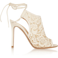 Gianvito Rossi - Macramé and suede ankle boots