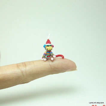 micro crochet art sock monkey in rainbow color  Tiny by LamLinh