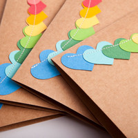 "Birthday Cards Set, Handmade Hand Stamped with Stitched Colorful Heart Bunting, 4"" x 6"" Heavy Card Stock, Set of 8 Cards"