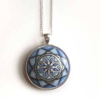 Modern Geometric Pendant Hand Painted Sacred Geometry Necklace  - Blue Floral Jewelry, Charrm