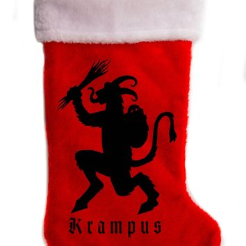 "Krampus Christmas Holiday Stocking 17"" Red/White Plush Hanging Sock Santa Stuffer Merry Gothmas"