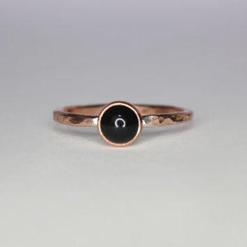 Stacking Ring  Onyx Stack Ring in Copper Custom by moonkistdesigns
