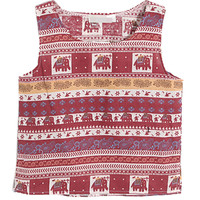 Red Elephant Crop Top