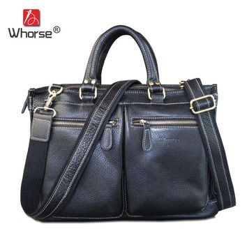 "Famous Brand Handmade Genuine Leather Business Briefcase Men Cowhide 14 15"" Laptop Bag Satchel Crossbody Messenger Bags W1978"