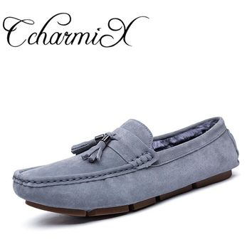 CcharmiX Plus Size Mens Casual Shoes Tassel Style Suede Leather Loafers Slip On Men Moccasins Man Fashion Loafers Boat Shoes