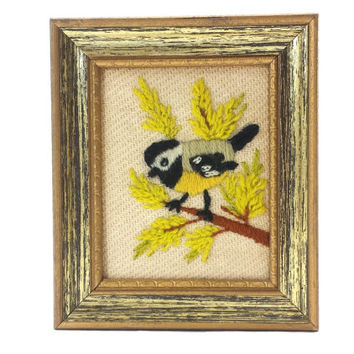 Vintage Chickadee Crewel, Bird Art, Woodland Decor, Small Needlepoint, Framed Embroidery, Vintage Wall Gallery, Nature, Trees, Foliage