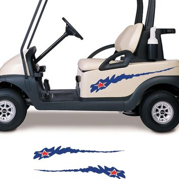 ON SALE Stars and Stripes USA Side By Side ATV Golf Cart Go Cart Stickers Graphics Decals GC303