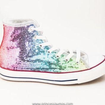 ICIKGQ8 sequin rainbow multi colors custom canvas converse hi top sneakers shoes