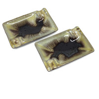 Pair of Small Vintage Pottery Ashtrays