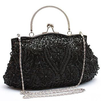 Womens Brand Fashion Polyester Beaded Handbag Wedding Party Prom Clutch Purse Evening Bag for Women Girls