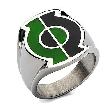 DC Comics Men's Stainless Steel Split Green Lantern Ring