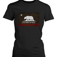 Funny Graphic Statement Womens Black T-shirt - California Republic Flag