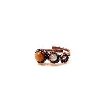 Sun and moon ring, sunstone ring, rainbow moonstone ring, orange ring, white ring, adjustable ring, rustic ring, copper gemtonse ring