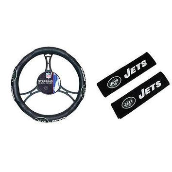 Licensed Official New NFL New York Jets Car Truck Steering Wheel Cover & Seat Belt Pad Covers