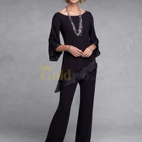 [US$180.99] Chiffon Two Piece Three Quarter Sleeves Mother of the Bride Pant Suit