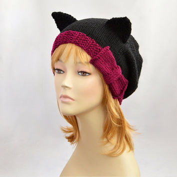 Black Cat Hat with Burgundy Bow, Burgundy Hat, Black Hat, Knit Cat Ear Hat or Cat Beanie, Womens Cat Hat, Burgundy Cat Beanie, Slouchy Hat