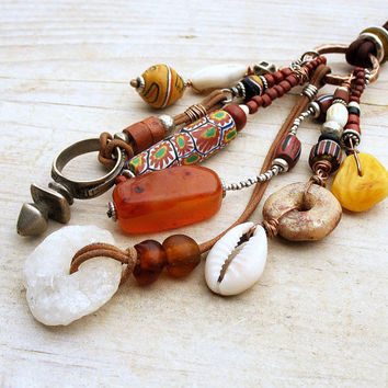 Ethnic Tribal  Assemblage Necklace on Leather Cord African Trade Beads Traditional Money Talisman