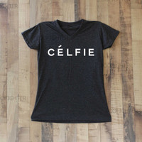 Celfie Shirt T Shirt Top V Neck Women  – Size S