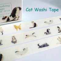 naughty cat tape meow meow sticker tape pet cat washi tape cat label Little kitty pussy cat masking tape cat gift wrapping beautiful cat