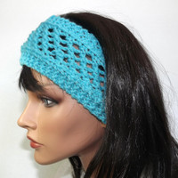 Wide Headband Boho Lattice Lace Knit Womens Sea Glass Aqua Blue Turquoise Hair Accessories