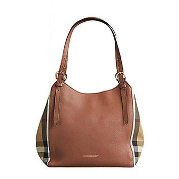 c14ac9b4f3a8 Tote Bag Handbag Authentic Burberry Small Canter in Leather and